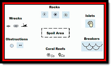 Recognize these seven danger chart symbol groups to keep your small cruising boat safe and sound. Spoil areas can contain any type of danger, thus it lies center-stage.