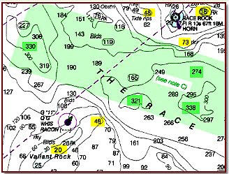 Transit a race with caution. Underwater mountains plunge from high peaks (yellow highlight) to deep canyons (green highlight).